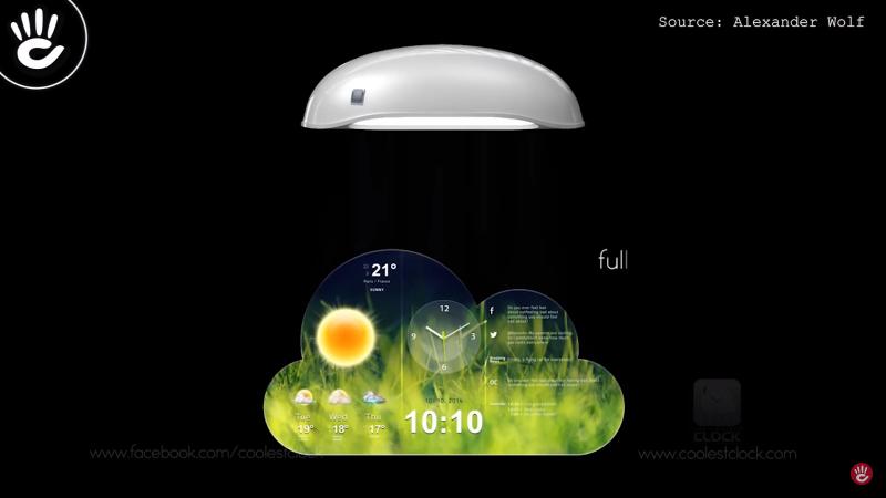 Coolest Clock hoạt động giống 1 chiếc máy chiếu, chiếu mặt đồng hồ lên tường