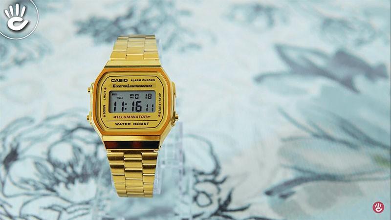 Chiếc đồng hồ với tone vàng tạo sự trẻ trung, sang trọng - A168WEGM-9DF