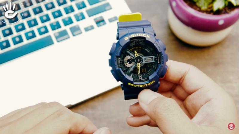 Mặt đồng hồ với sự kết hợp đồng hồ kim và điện tử - GA-110LN-2ADR