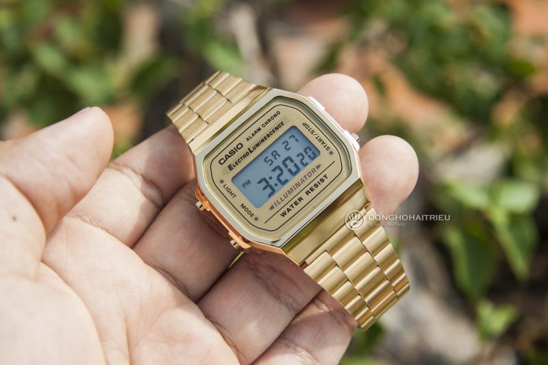 Casio nữ A168WG-9WDF với màu vàng gold bao phủ toàn bộ