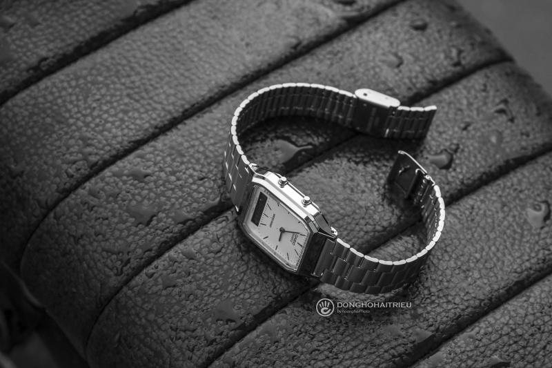 Thiết kế kiểu dáng đồng hồ 3 kim, nhưng cũng không kém phần độc độc với ô số điện tử - AQ-230A-7DMQ