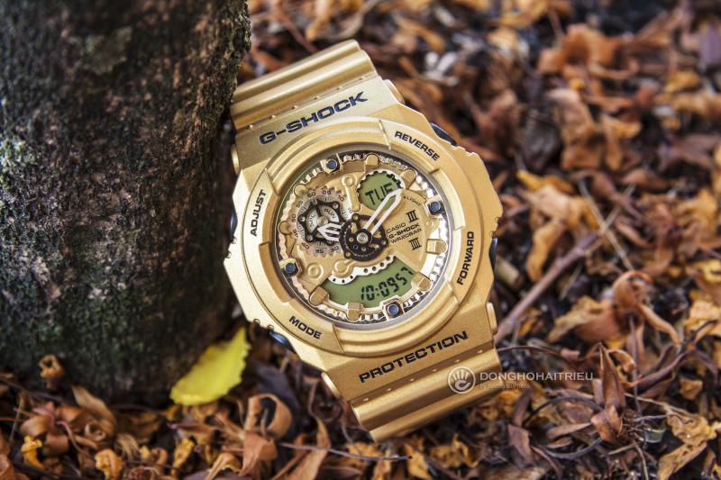 Mặt đồng hồ với thiết kế lạ mắt, những chi tiết được dập nổi nhẹ nhàng - GA-300GD-9ADR