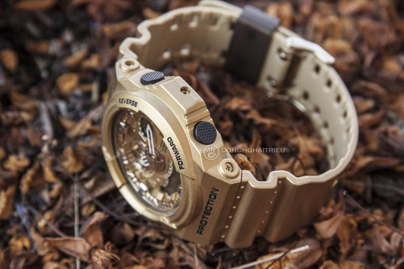 Chiếc đồng hồ với mặt và vỏ ngoài đồng hồ màu vàng tạo sự sang trọng nhưng cũng không kém phần ngọt ngào - GA-300GD-9ADR