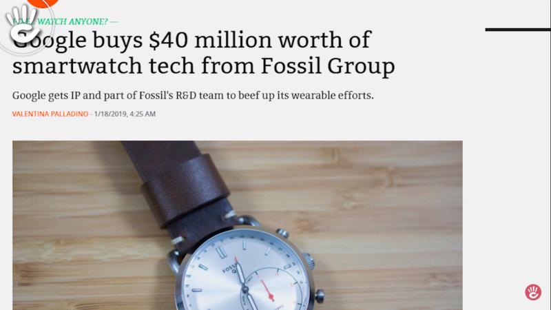 Tin Google chi 40 triệu USD mua công nghệ đồng hồ thông minh của Fossil ít ai biết