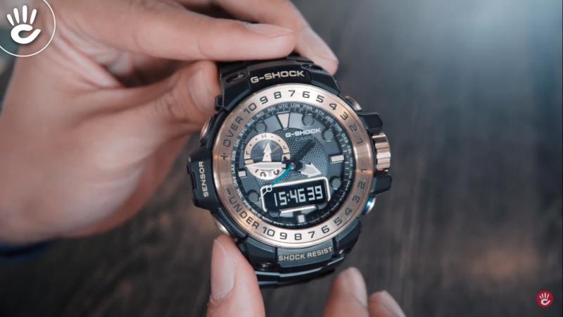 Mặt đồng hồ G-Shock GWN-1000GB-1ADR gồm 2 vòng với 2 chức năng khác nhau