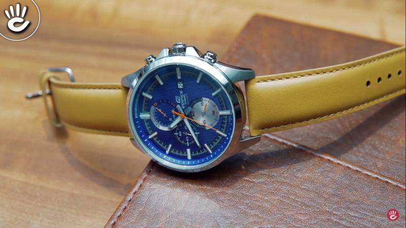 Đồng hồ nam Casio EFV-520L-2AVUDF theo phong cách cổ điển với dây đeo bằng da tông màu nâu lịch lãm