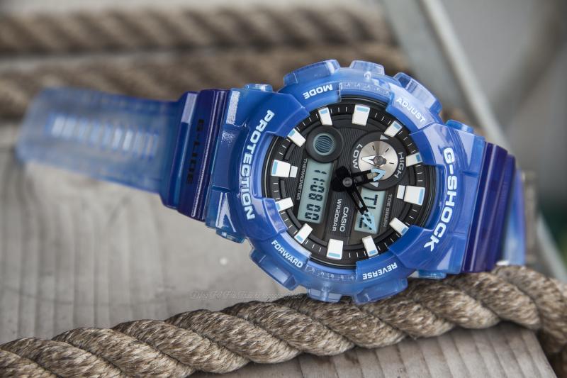 G-Shock GAX-100MSA-2ADR với thiết kế tổng thể tông màu xanh đầy cá tính