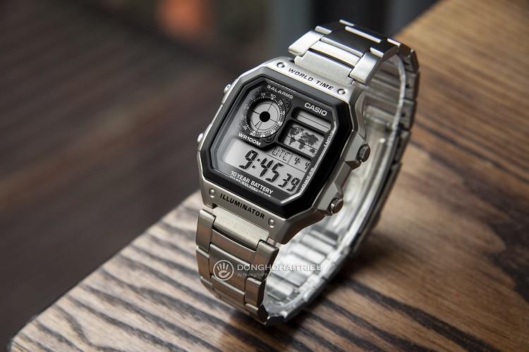 Đồng hồ điện tử Casio AE1200WHD-1AVDF đa chức năng, giá rẻ hình 4