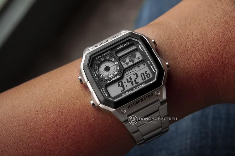 Đồng hồ điện tử Casio AE1200WHD-1AVDF đa chức năng, giá rẻ hình 3