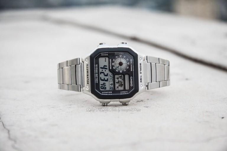Hướng dẫn điều chỉnh thời gian hiển thị đồng hồ casio ae1200whd