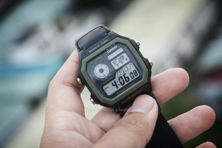 Chỉnh ngày, giờ tự động bằng đồng hồ casio ae1200whd