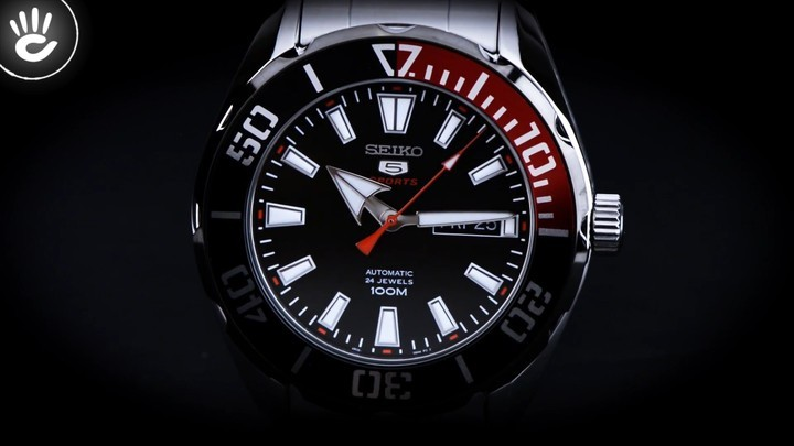 Đồng hồ Seiko SRPC57K1 Thiết kế độc đáo với viền ngoài màu đỏ và đen - Ảnh: 2