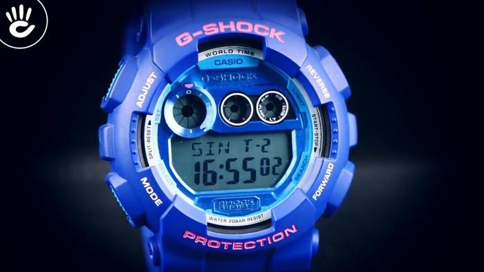 Casio G-Shock GD-120TS-2DR Hồng nổi bật trên mặt xanh hy vọng - Ảnh 2