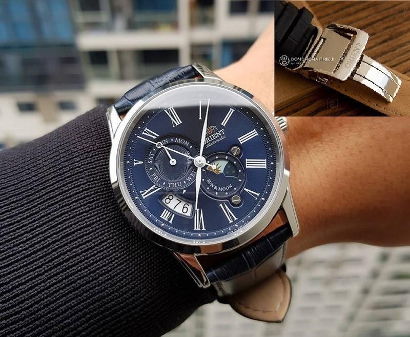 Dây da đồng hồ khóa bướm 1 gấp của chiếc đồng hồ nam Orient