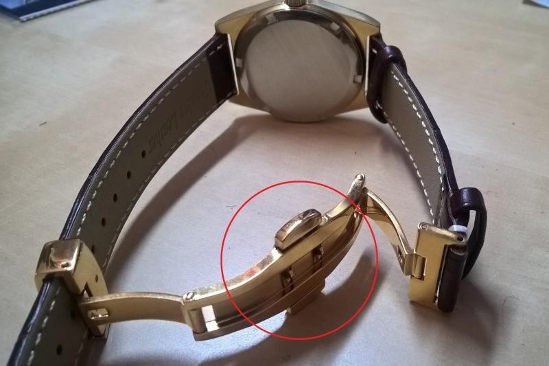 Dây da đồng hồ khóa bướm có nút bấm
