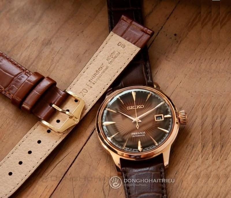 Thay dây đồng hồ seiko 5 bằng dây da Hirsch
