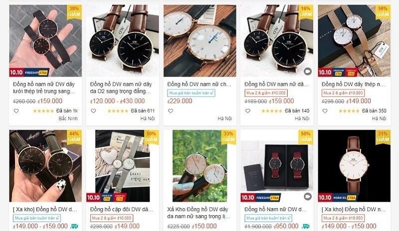 Đồng hồ DW giả được bày bán tràn lan