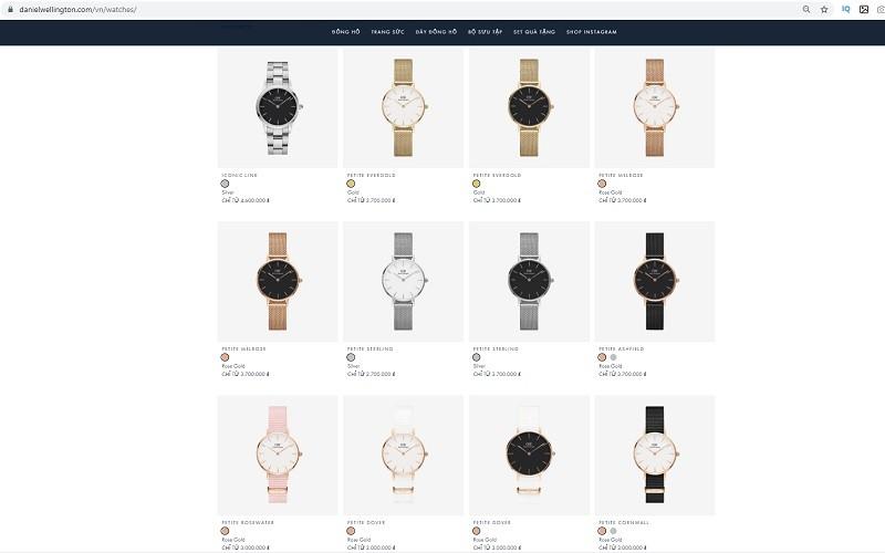 Giá bán của các chiếc đồng hồ DW chính hãng luôn được công bố